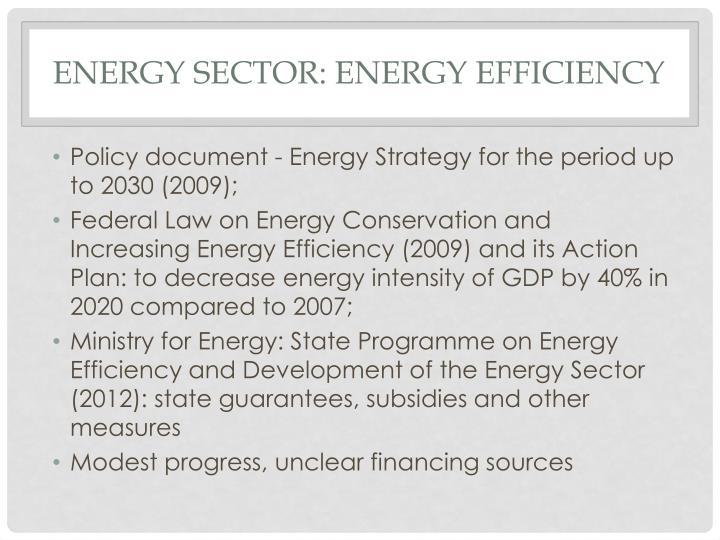Energy sector: Energy efficiency