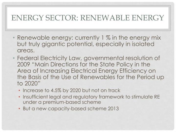 Energy sector: renewable energy