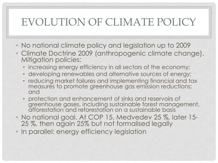 Evolution of climate policy