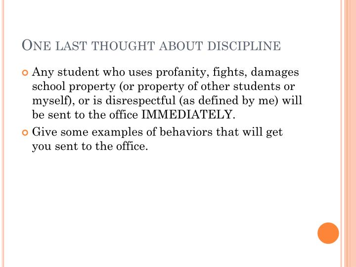 One last thought about discipline