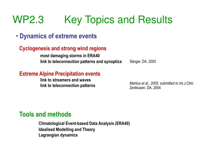 Wp2 3 key topics and results1