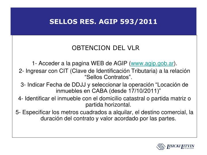 SELLOS RES. AGIP 593/2011