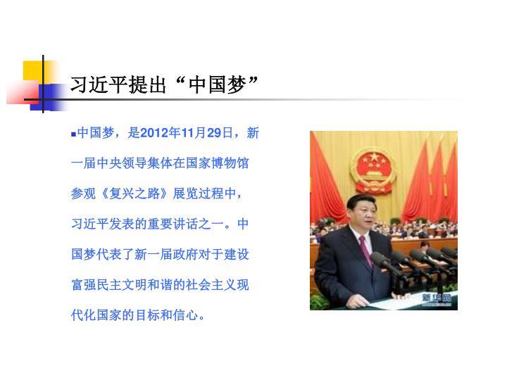 """习近平提出""""中国梦"""""""