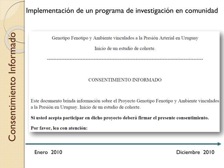 Implementación de un programa de investigación en comunidad