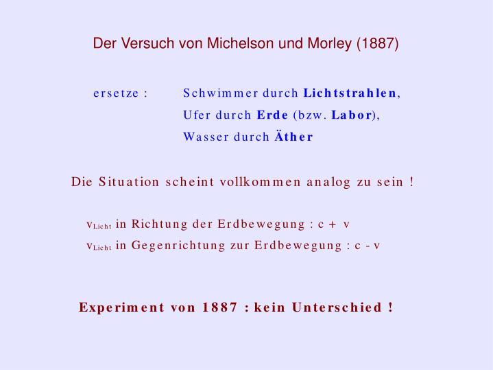 Der Versuch von Michelson und Morley (1887)