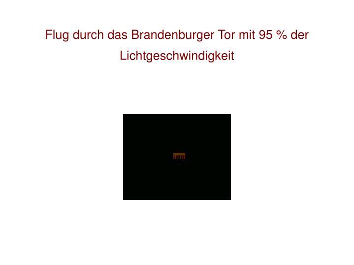 Flug durch das Brandenburger Tor mit 95 % der Lichtgeschwindigkeit