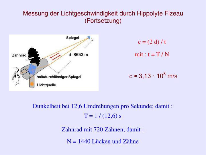 Messung der Lichtgeschwindigkeit durch Hippolyte Fizeau (Fortsetzung)