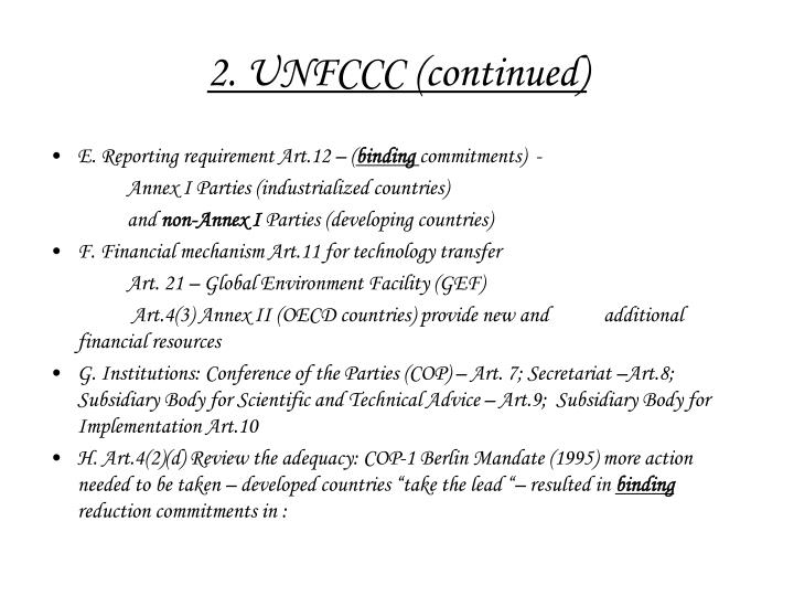 2. UNFCCC (continued)