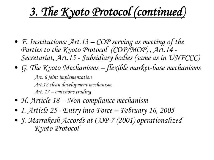 3. The Kyoto Protocol (continued