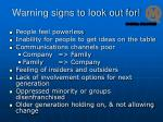 warning signs to look out for