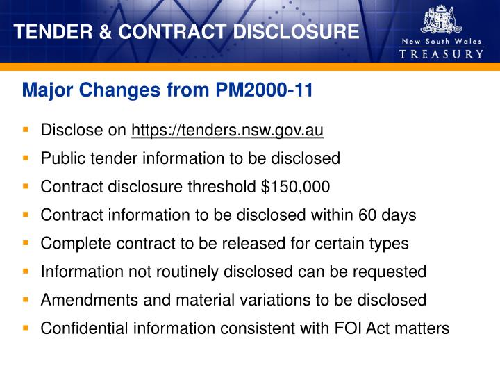 TENDER & CONTRACT DISCLOSURE