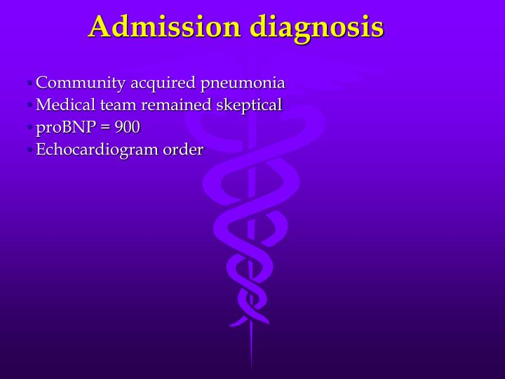 Admission diagnosis