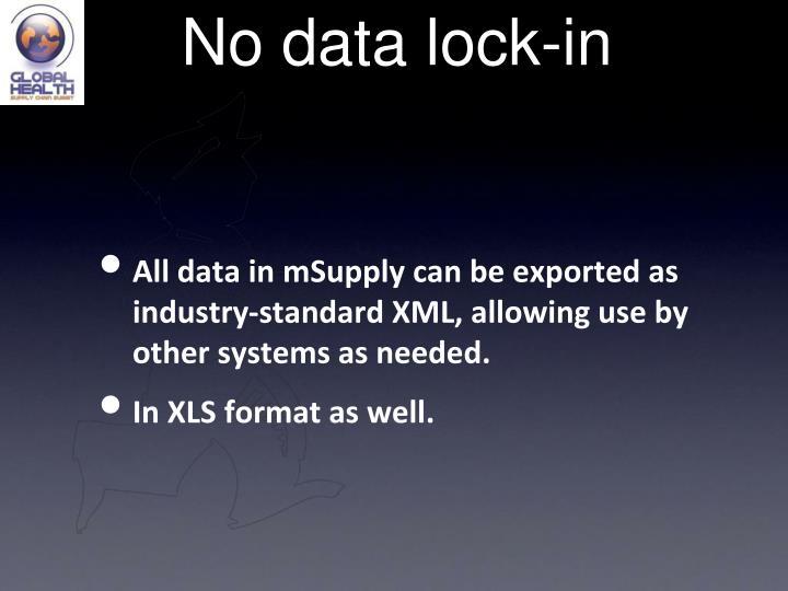 No data lock-in