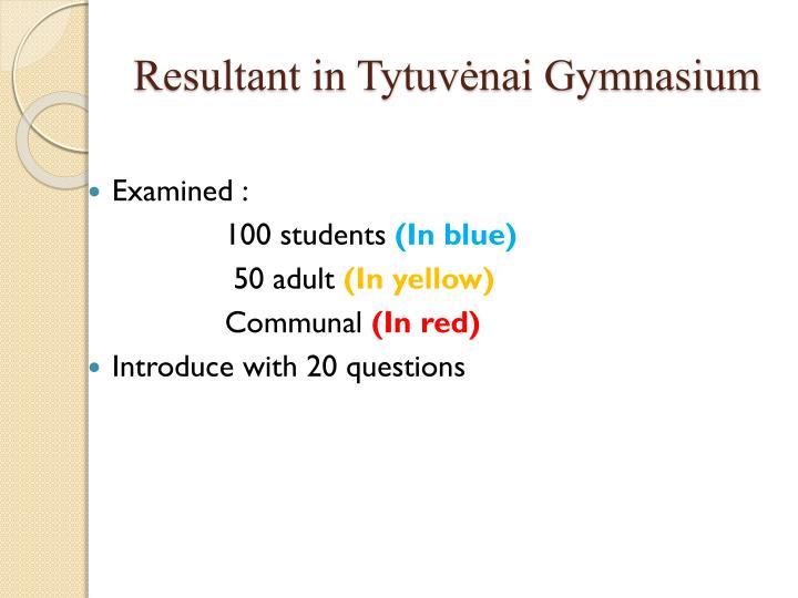 Resultant in Tytuvėnai Gymnasium