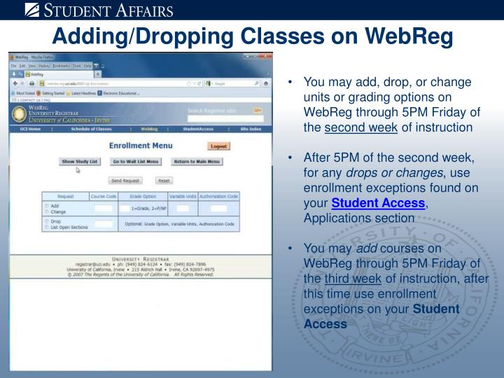 Adding/Dropping Classes on