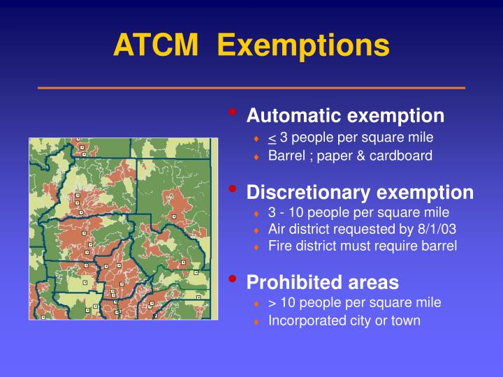 ATCM  Exemptions
