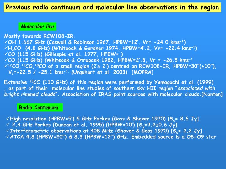 Previous radio continuum and molecular line observations in the region