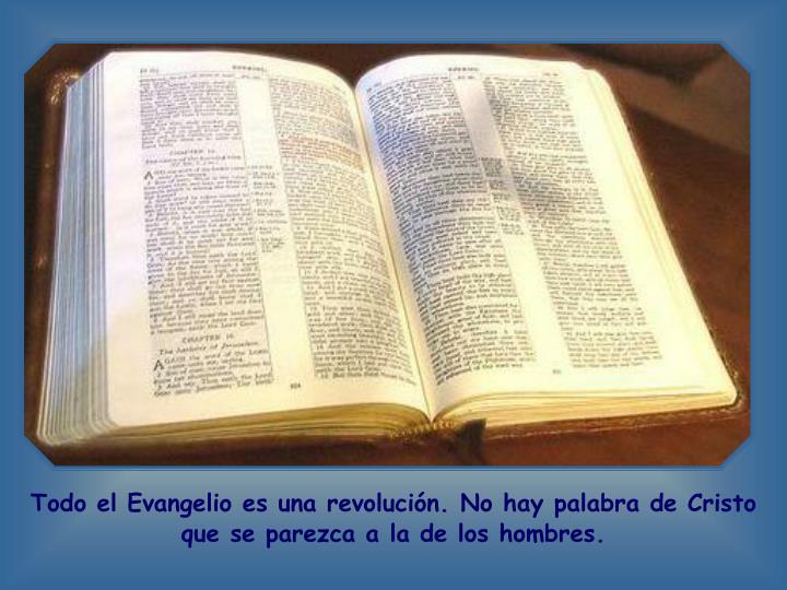 Todo el Evangelio es una revolución. No hay palabra de Cristo que se parezca a la de los hombres.