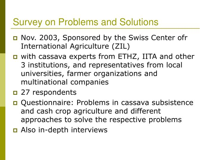 Survey on Problems and Solutions