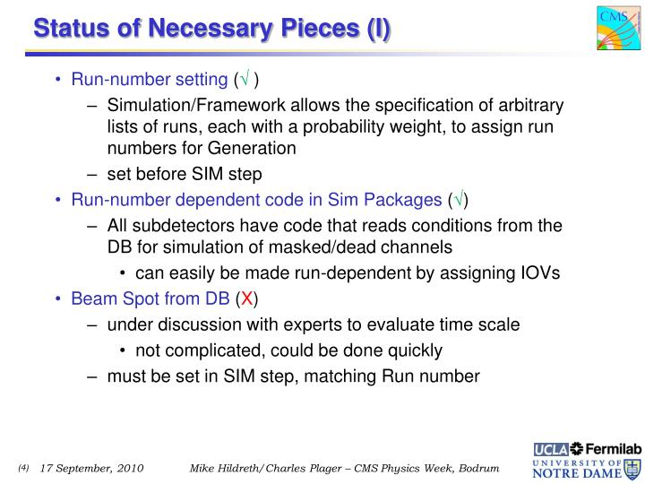 Status of Necessary Pieces (I)