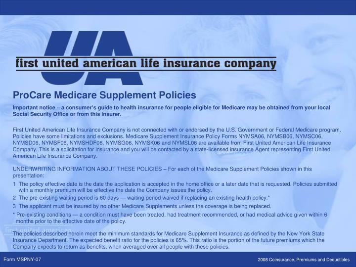 ProCare Medicare Supplement Policies