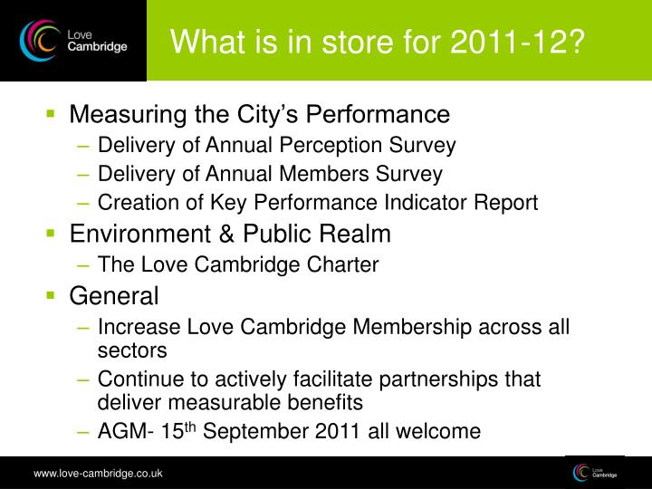 What is in store for 2011-12?