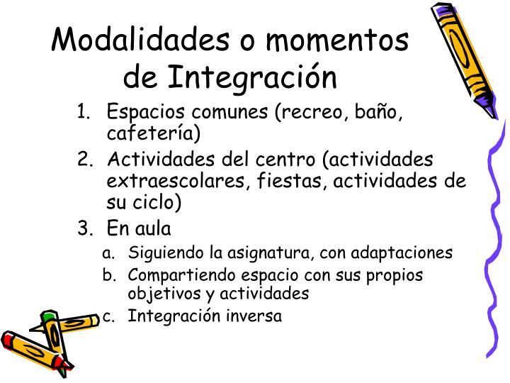Modalidades o momentos de Integración