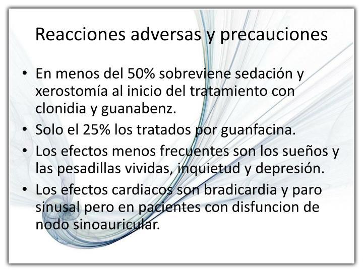 Reacciones adversas y precauciones