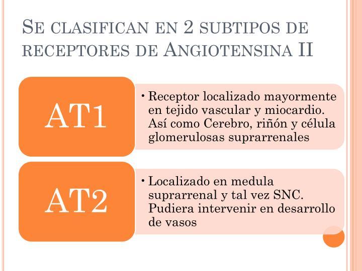 Se clasifican en 2 subtipos de receptores de Angiotensina II