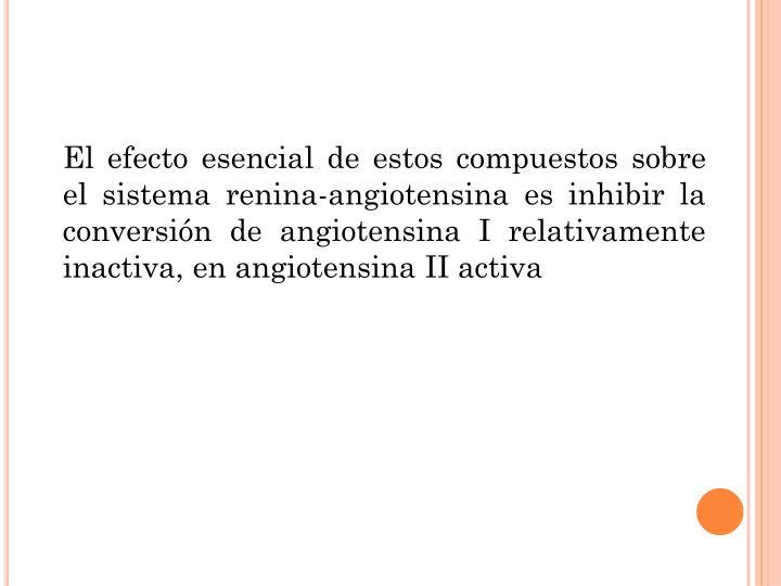 El efecto esencial de estos compuestos sobre el sistema renina-angiotensina es inhibir la conversión de angiotensina I relativamente inactiva, en angiotensina II activa