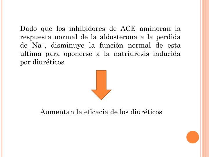 Dado que los inhibidores de ACE aminoran la respuesta normal de la aldosterona a la perdida de Na