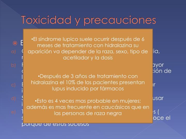 Toxicidad y precauciones