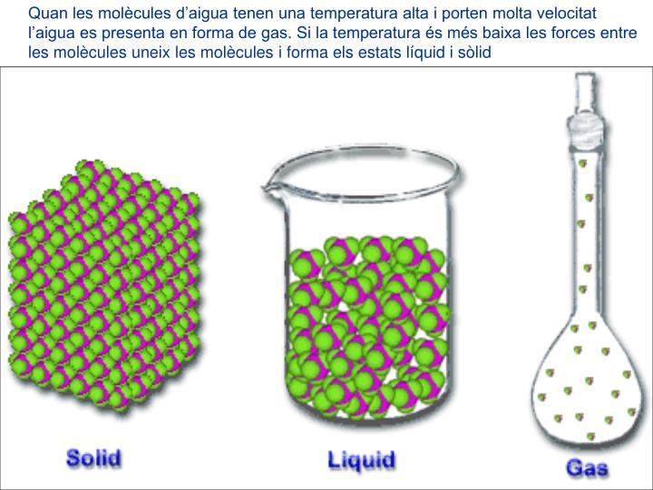 Quan les molècules d'aigua tenen una temperatura alta i porten molta velocitat l'aigua es presenta en forma de gas. Si la temperatura és més baixa les forces entre les molècules uneix les molècules i forma els estats líquid i sòlid