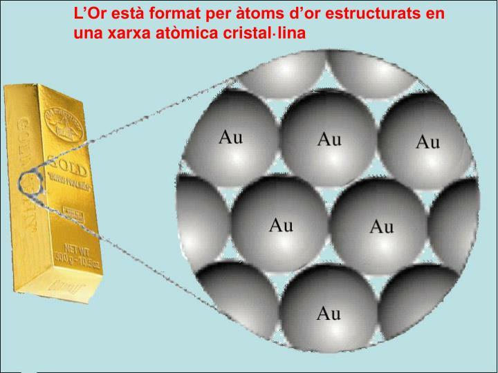 L'Or està format per àtoms d'or estructurats en una xarxa atòmica cristal·lina
