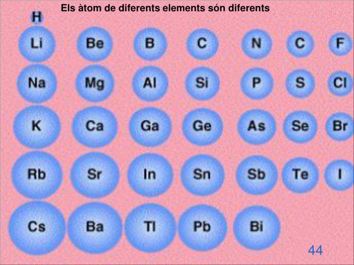 Els àtom de diferents elements són diferents