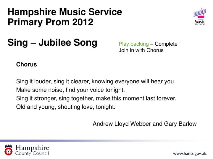 Hampshire music service primary prom 2012 sing jubilee song