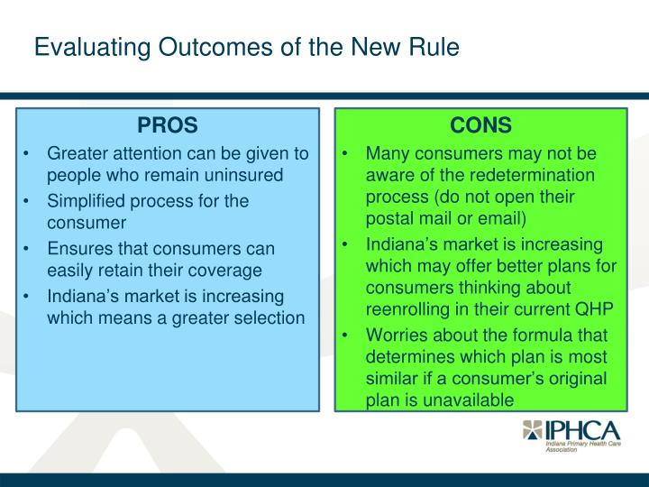 Evaluating Outcomes of the New Rule