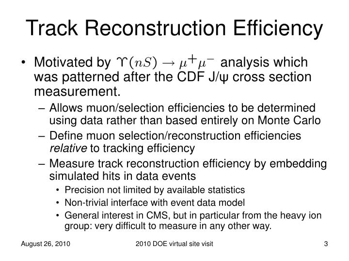 Track reconstruction efficiency