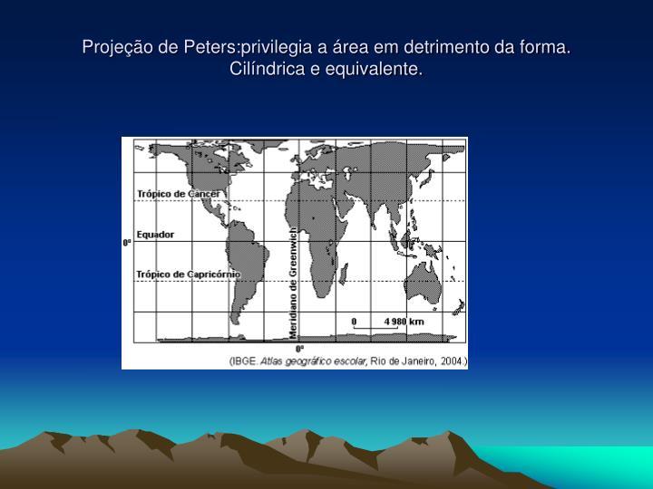 Projeção de Peters:privilegia a área em detrimento da forma.