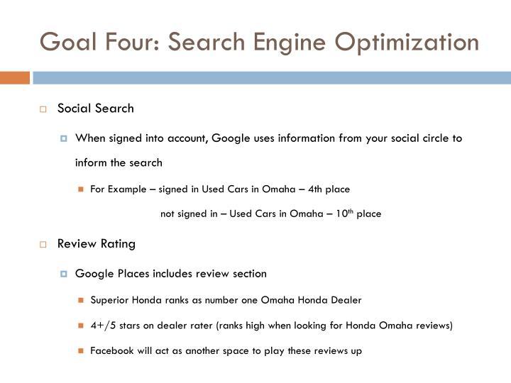 Goal Four: Search Engine Optimization
