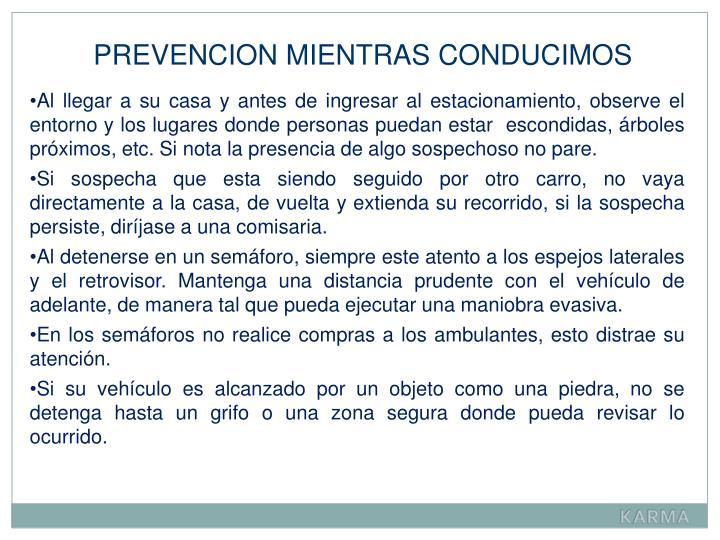 PREVENCION MIENTRAS CONDUCIMOS