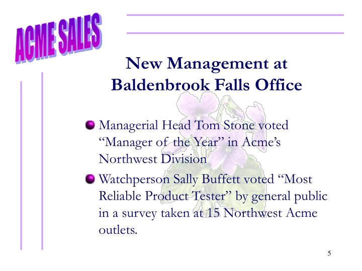 New Management at Baldenbrook Falls Office