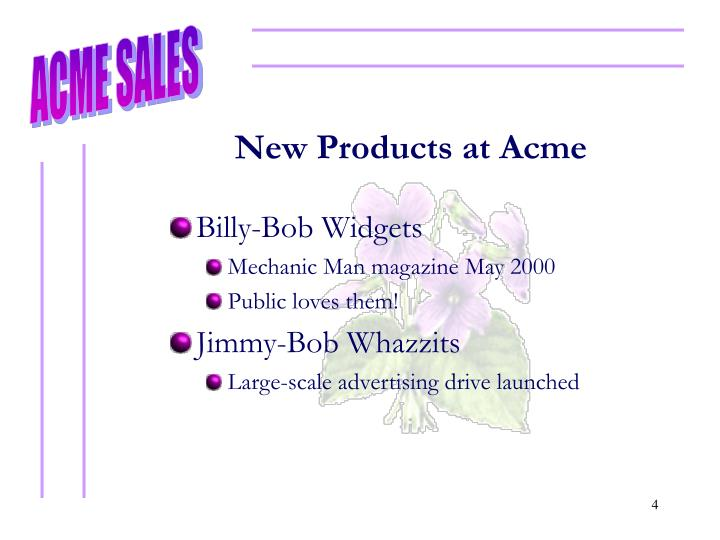 New Products at Acme