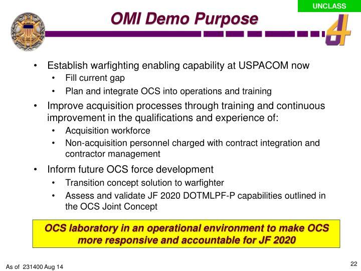 OMI Demo Purpose