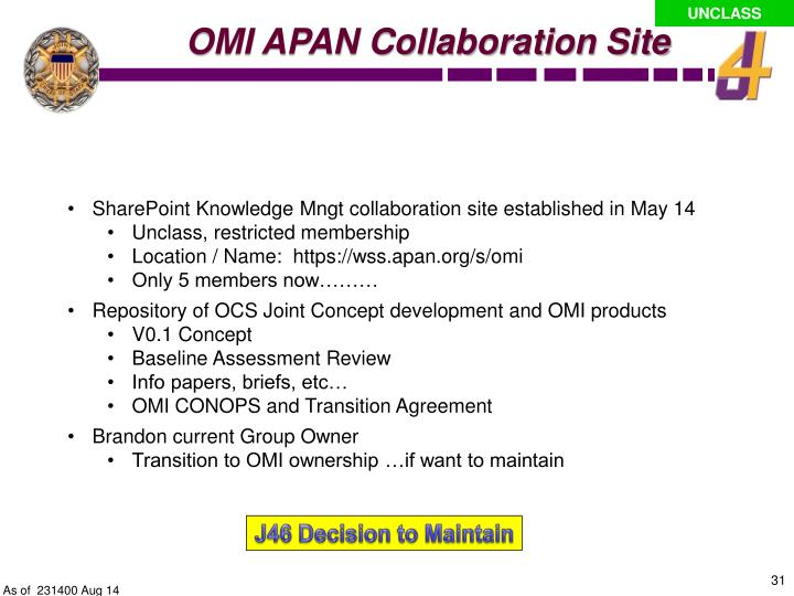 OMI APAN Collaboration Site