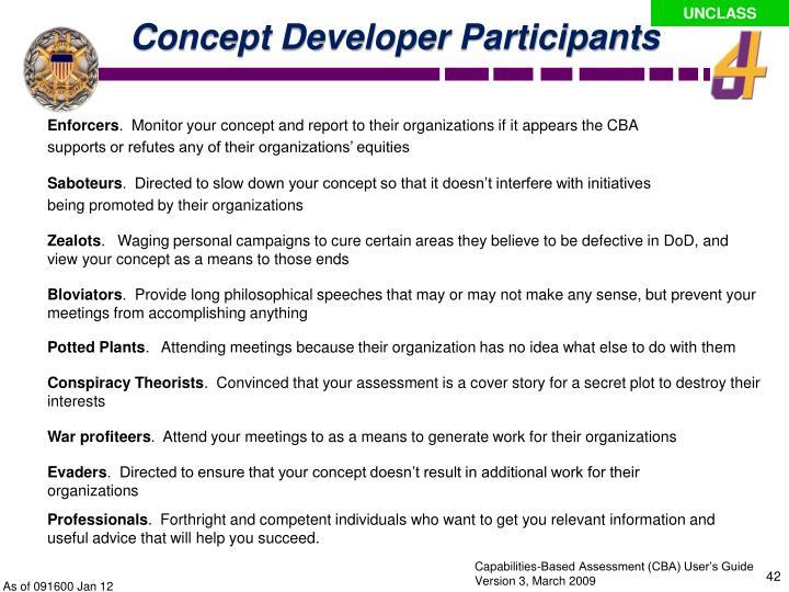 Concept Developer Participants