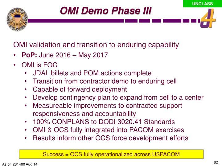 OMI Demo Phase