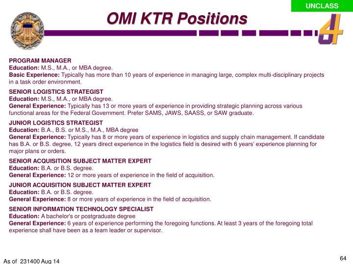 OMI KTR Positions