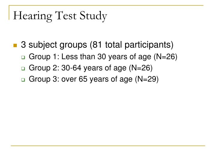 Hearing Test Study