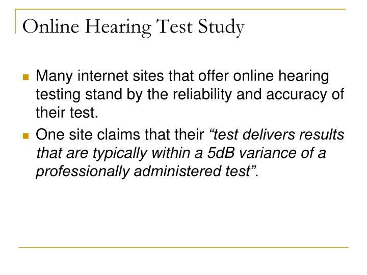 Online Hearing Test Study
